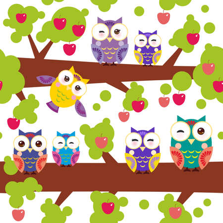 red apples: seamless pattern bright colorful owls on the branch of a tree with red apples on white background.