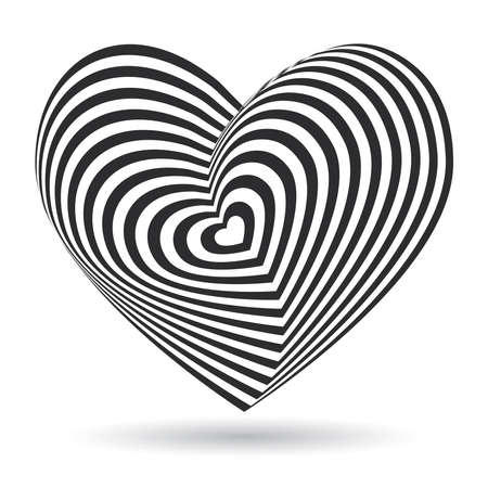 black heart on white background. Optical illusion of 3D three-dimensional volume.
