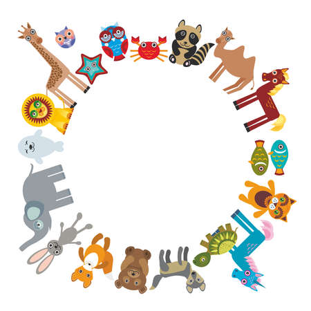 Set of funny cartoon animals character bear elephant fox giraffe horse lion camel rabbit wolf turtle unicorn owl starfish cat seal on white background walking around globe. frame for your text.