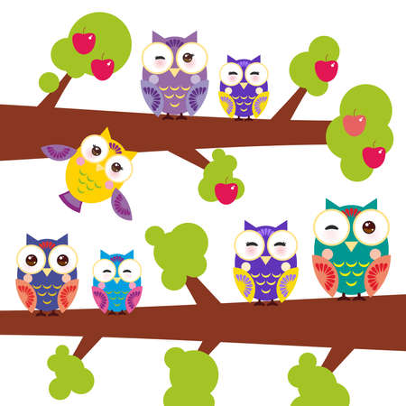 appletree: set bright colorful owls on the branch of apple-tree with red apples on white background.