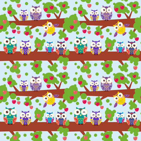 red apples: seamless pattern set bright colorful owls on the branch of a tree with red apples on blue background. Illustration