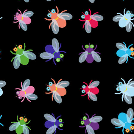 blue violet: Seamless pattern Funny fly colorful red green blue violet pink with transparent wings on black background. Vector illustration