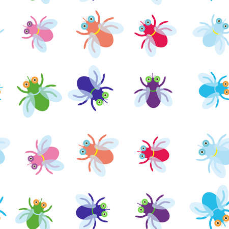 blue violet: Seamless pattern Funny fly colorful red green blue violet pink with transparent wings on white background. Vector illustration