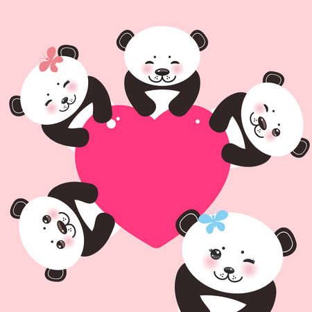 pink and black: Kawaii funny panda white muzzle with pink cheeks and big black eyes. Card design with a funny animal with pink heart on pink  background.