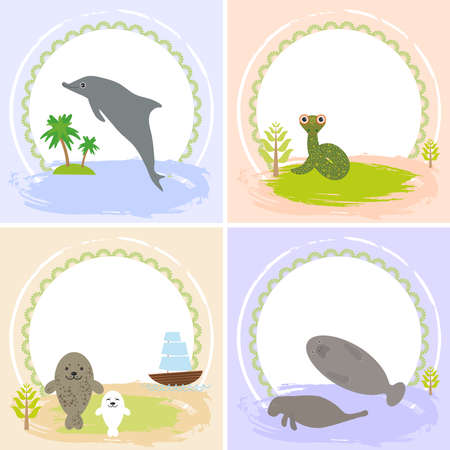 your text: dolphin, snake, manatees, seals, set of cards design  with funny animals, template banner for your text with round frame.