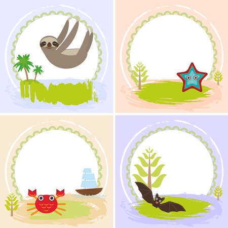 your text: sloth, crab, cancer, starfish, bat, set of cards design  with funny animals, template banner for your text with round frame. Illustration