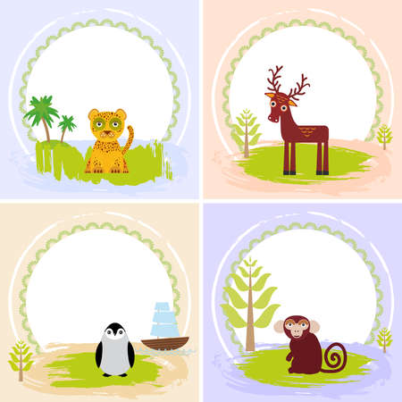 your text: deer, bird penguin, jaguar, leopard,, set of cards design  with funny animals, template banner for your text with round frame.