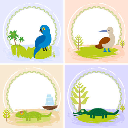 crocodile, alligator, iguana, parrot bird, booby, set of cards design  with funny animals, template banner for your text with round frame. Illustration