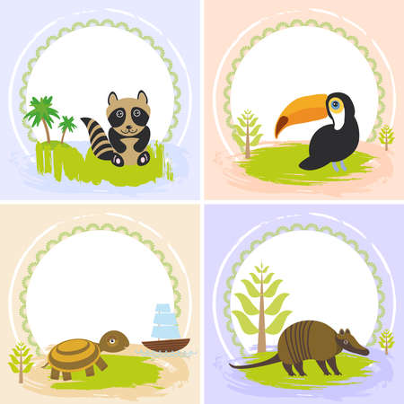 your text: toucan bird, raccoon, turtle, armadillo, set of cards design  with funny animals, template banner for your text with round frame. Illustration