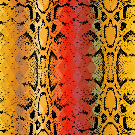 python skin: Snake skin texture  with colored rhombus. Geometric background. Seamless pattern black brown yellow red background, colorful psychedelic geometric mosaic ornament triangle. Vector illustration
