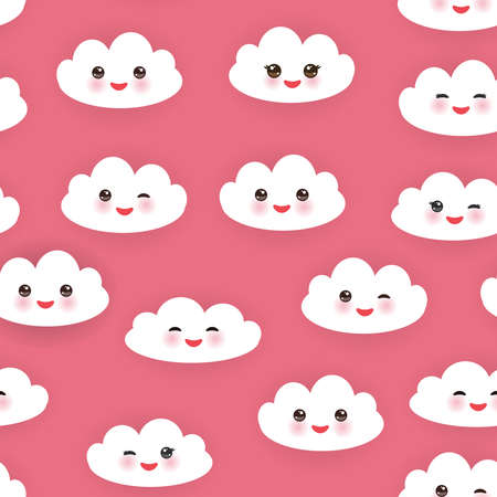 winking: Kawaii funny white clouds set, muzzle with pink cheeks and winking eyes. Seamless pattern  on pink background.