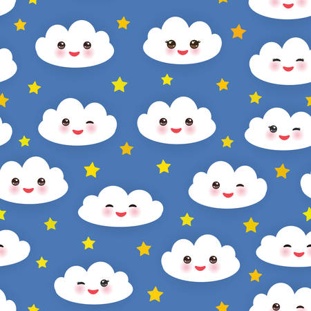 cheeks: Kawaii funny white clouds set, muzzle with pink cheeks and winking eyes. Seamless pattern  on blue background. Illustration