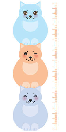 measure height: set funny cats, pastel colors on white background Children height meter wall sticker, kids measure. Vector illustration