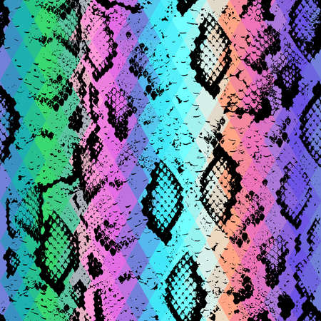 Snake skin texture with colored rhombus. Geometric background. Seamless pattern black rainbow green purple blue yellow background, colorful psychedelic geometric mosaic ornament triangle. illustration