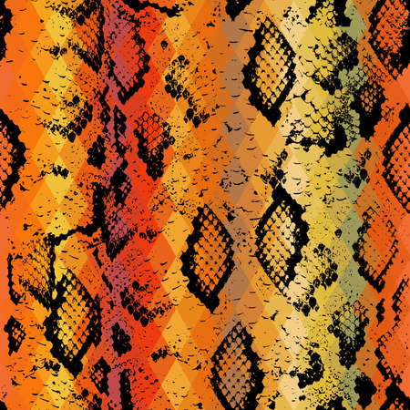 brown skin: Snake skin texture  with colored rhombus. Geometric background. Seamless pattern black brown yellow red background, colorful psychedelic geometric mosaic ornament triangle. illustration