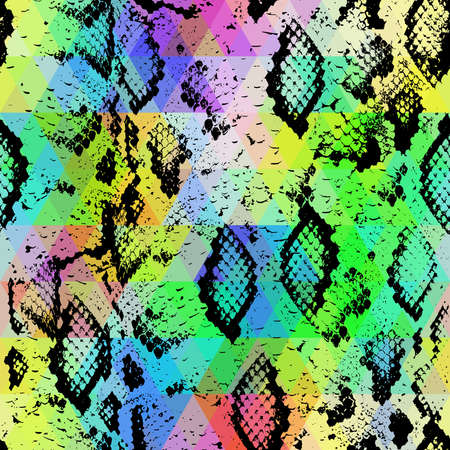 snakeskin: Snake skin texture  with colored rhombus. Geometric background. Seamless pattern black rainbow green purple blue yellow background, colorful psychedelic geometric mosaic ornament triangle. Vector illustration Illustration