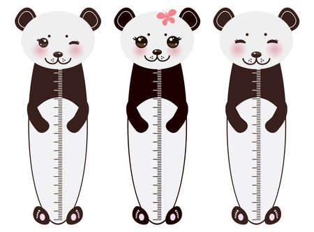 measure height: Kawaii funny panda white muzzle with pink cheeks and big black eyes  on white background Children height meter wall sticker, kids measure. illustration