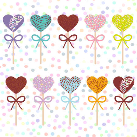pastel colors: Colorful Sweet Cake pops hearts set with bow isolated, pastel colors on white polka dot background. Vector illustration