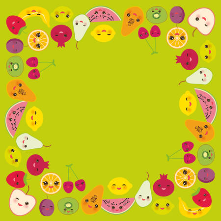 Card design for your text, banner template, square frame strawberry, orange, banana cherry, lime lemon kiwi, plums apples, watermelon, pomegranate, papaya, pear on green background. Vector illustration