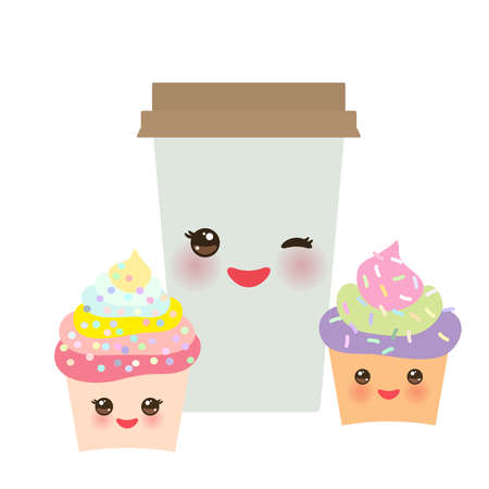 Take-out coffee in Paper thermo coffee cup with brown cap, cupcake. Kawaii cute face with eyes and smile  Isolated on white background. Vector illustration