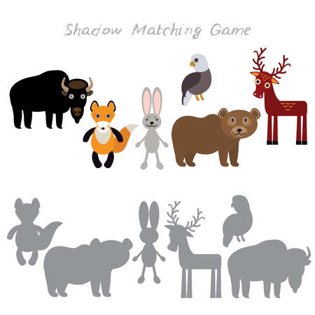 Bison fox hare rabbit Eagle Bear Deer isolated on white background, Shadow Matching Game for Preschool Children. Find the correct shadow. Vector illustration