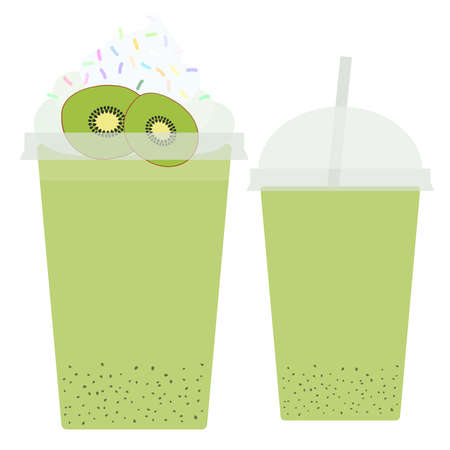 takeout: Kiwi Take-out smoothie transparent plastic cup with straw and whipped cream. Isolated on white background. Vector illustration Illustration
