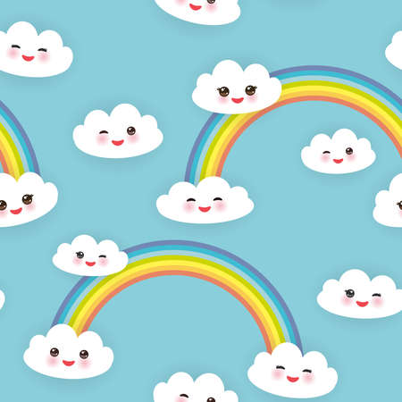 muzzle: Kawaii funny white clouds set, muzzle with pink cheeks and winking eyes. Seamless pattern  on blue background. Vector illustration Illustration