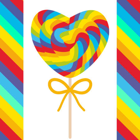 Valentines Day Heart shaped candy lollipops with bow, colorful spiral candy cane with bright rainbow stripes. on stick with twisted design on white background with bright rainbow stripes. Vector illustration
