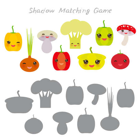 peppers onions mushrooms squash tomato cauliflower isolated on white background, Shadow Matching Game for Preschool Children. Find the correct shadow. Vector illustration Ilustração