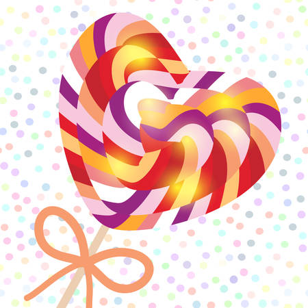 Valentines Day Heart shaped  candy lollipops with bow, colorful spiral candy cane. Candy on stick with twisted design on white abstract geometric retro polka dot background. Vector illustration Illustration