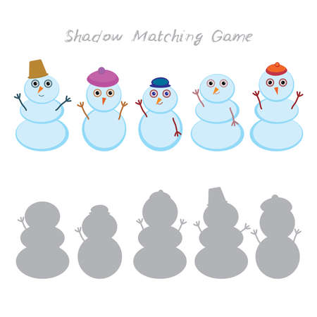 Set of cute cartoon funny snowman isolated on white background, Shadow Matching Game for Preschool Children. Find the correct shadow. Vector illustration