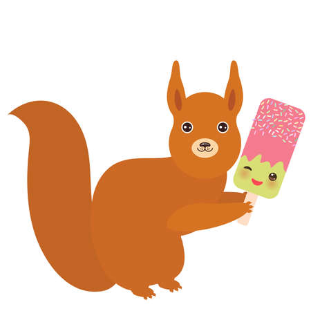 red squirrel with strawberry-pistachio ice cream, ice lolly Kawaii with pink cheeks and winking eyes, pastel colors on white background. Vector illustration