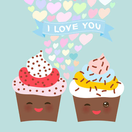 I love you Card design with chocolate Cupcake Kawaii funny muzzle with pink cheeks and winking eyes, pastel colors on light blue background. Vector illustration