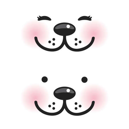 muzzle: Kawaii funny muzzle with pink cheeks and winking eyes on white background. Vector illustration