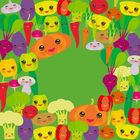 pumpkin tomato: Round frame Kawaii bell peppers, pumpkin beets carrots, eggplant, red hot peppers, cauliflower, broccoli, potatoes, mushrooms, cucumber, onion, garlic, tomato, radish green background. Vector illustration