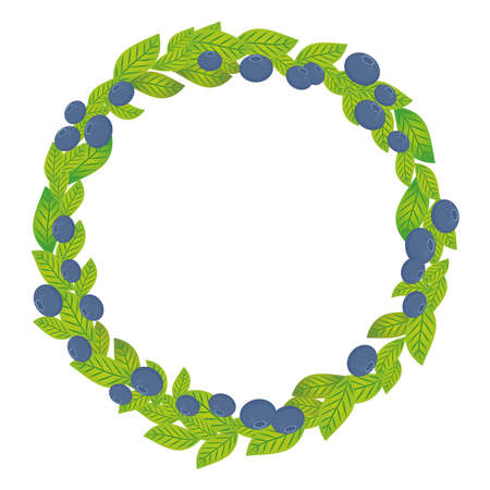 whortleberry: Round wreath with green leaves and blueberry, bilberry, whortleberry Fresh juicy berries isolated on white background. Vector illustration