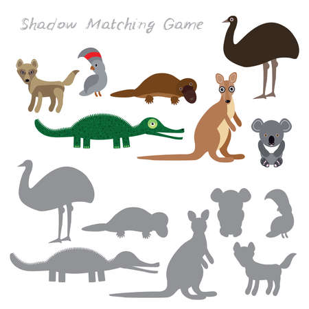 dingo: Australian animals dingo emu parrot crocodile koala kangaroo platypus isolated on white background, Shadow Matching Game for Preschool Children. Find the correct shadow. Vector illustration