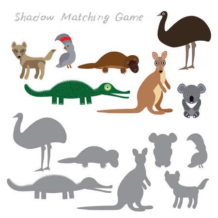 Australian animals dingo emu parrot crocodile koala kangaroo platypus isolated on white background, Shadow Matching Game for Preschool Children. Find the correct shadow. Vector illustration