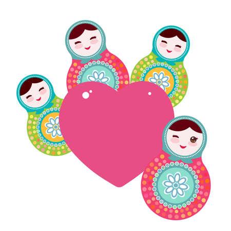 muñecas rusas: Matryoshka muñecas rusas, colores verdes azules rosados. Diseño de tarjeta de corazón de color rosa sobre un fondo blanco. ilustración vectorial Vectores