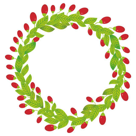 Round wreath with green leaves and red goji berry Fresh juicy berries isolated on white background. Vector illustration