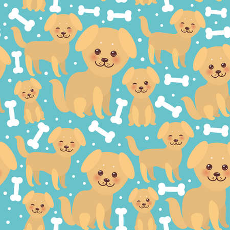 seamless pattern funny golden beige dog and white bones, Kawaii face with large eyes and pink cheeks, boy and girl on blue background. Vector illustration
