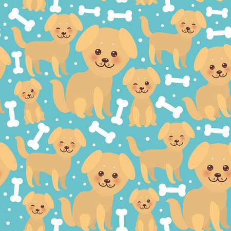 seamless pattern divertente cane beige dorato e ossa bianche, faccia Kawaii con grandi occhi e guance rosa, ragazzo e ragazza su sfondo blu. Illustrazione vettoriale