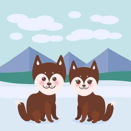 alaskan malamute: Kawaii funny brown husky dog, face with large eyes and pink cheeks, boy and girl, mountain landscape background. Vector illustration
