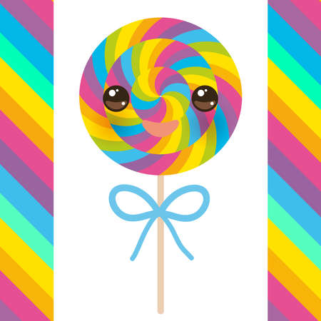 Kawaii candy lollipops with bow, colorful spiral candy cane with bright rainbow stripes. on stick with twisted design on white background with rainbow stripes. Vector illustration