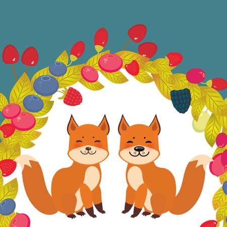 Round wreath cute kawaii fox, Cherry Strawberry Raspberry Blueberry Cranberry Cowberry Goji Grape on blue background. Vector illustration Illustration