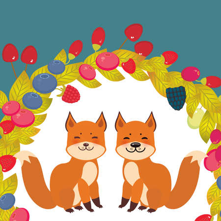 Round wreath cute kawaii fox, Cherry Strawberry Raspberry Blueberry Cranberry Cowberry Goji Grape on blue background. Vector illustration Illustration