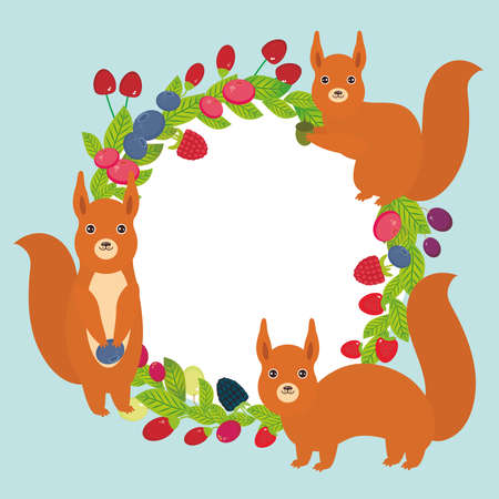 whortleberry: Round wreath with red squirrels Cherry Strawberry Raspberry Blueberry Cranberry Cowberry Goji Grape Fresh juicy berries on blue background. Vector illustration