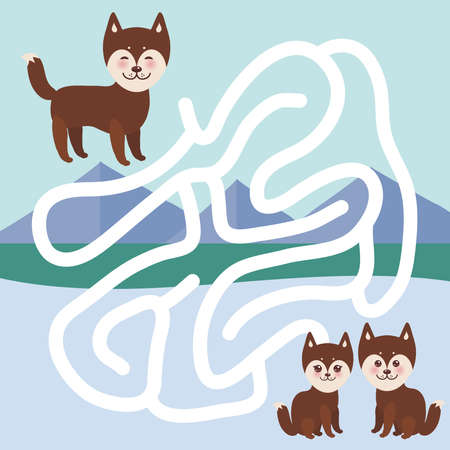 Kawaii funny brown husky dog, face with large eyes and pink cheeks, boy and girl, mountain landscape background.  labyrinth game for Preschool Children. Vector illustration Illustration