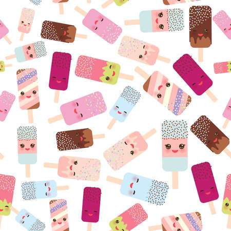 seamless pattern ice cream, ice lolly  Kawaii with pink cheeks and winking eyes, pastel colors on white background. Vector illustration
