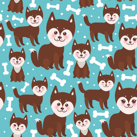 alaskan malamute: seamless pattern funny brown husky dog and white bones, Kawaii face with large eyes and pink cheeks, boy and girl on blue background. Vector illustration